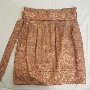 BCBG MaxAzria gold metallic paper bag skirt